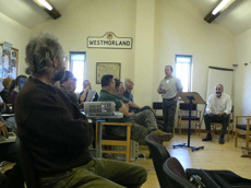 [Ed Mills introduces Alan Waters at the coppice conference]